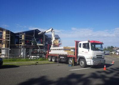 Lifting Gib into Construction Site